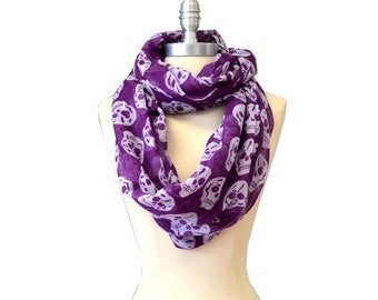 Purple With White Skull X-Large Infinity Scarf Loop Cowl