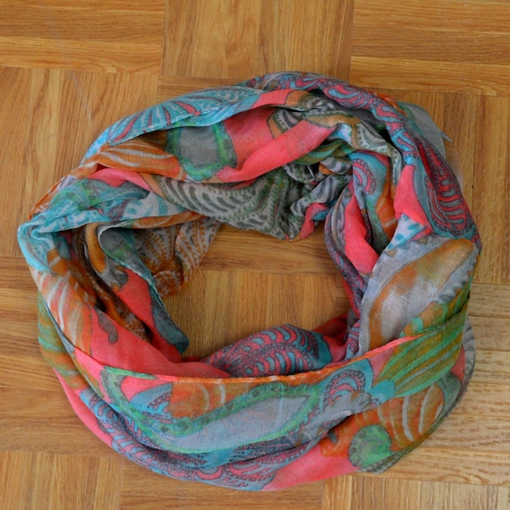 New Grey Compass Light Weiget  X-Lgrge Infinity Scarf Loop Cowl