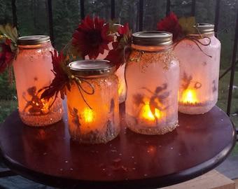 FAIRIES in a JAR , fairies in mason jar, fairy lantern, fairy nightlight outdoor lighting