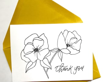 Set of 5 cards || Florals Thank You