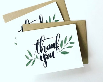 """Set of 5 """"Thank You"""" vine cards"""