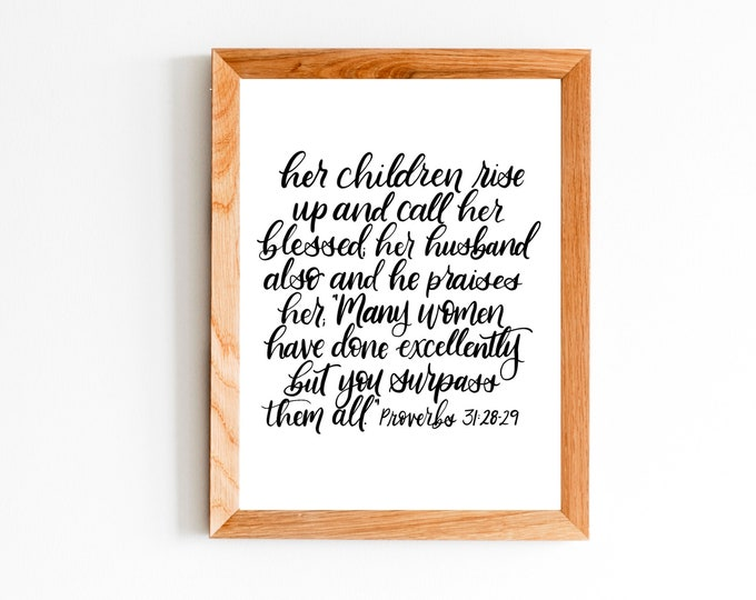 Featured listing image: 8x10 inch Proverbs 31:28-29