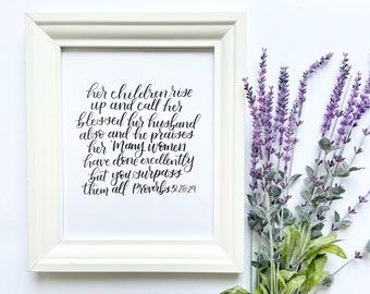 8x10 inch Proverbs 31:28-29 Handmade