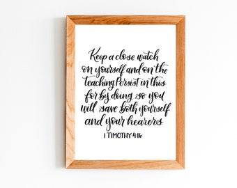 8x10 inch 1 Timothy 4:16