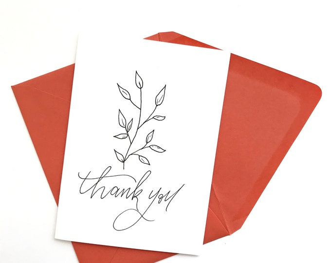 "Set of 5 Cards || Florals ""Thank You"""
