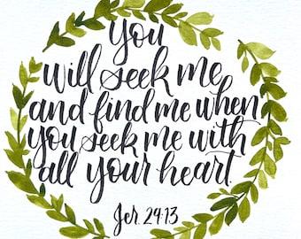 8x8 inch Jeremiah 29:13