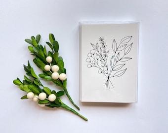 Set of 5 Cards || Florals & Leaves