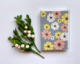Set of 5 Cards || Field of Flowers