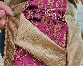 Pockets Velvet Steampunk *Asian Satin Hood Renaissance Swirl Pink Gold Brocade WhmZ Lavender One of a Kind
