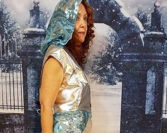 Silver Sequined Turquoise Fairy WhmZcoat * Hood  * Sheer * Plus Size * One of a Kind * Faerie * Magic *Cosplay