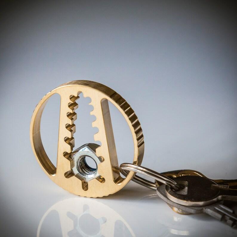 Pocket Tool Keychain Wrench  CNC Bronze Keychain  Modern image 0