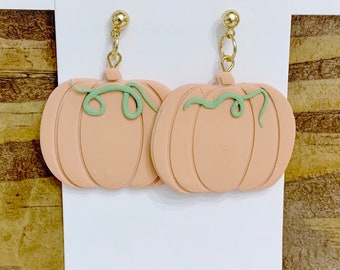 Halloween Pumpkin Orange Cream White Gold Holiday Earrings