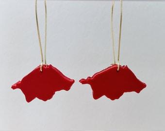 Red Black White Gold Arkansas Razorback Hog Polymer Clay Dangle Earrings