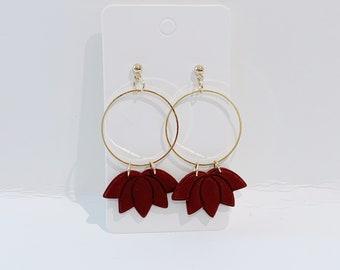 Maroon gold lotus leaves hoop dangle earrings