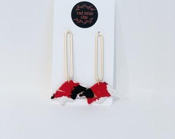 Red Black White Gold Polymer Clay Arkansas Razorback Dangle Earrings