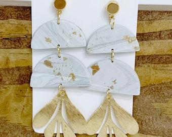 Gray White Marble Gold Dangle Drop Earrings