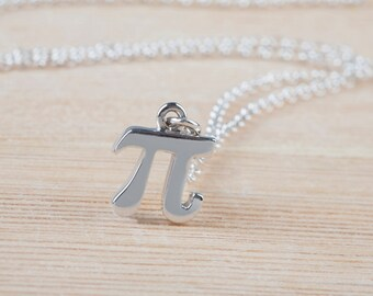 Pi Math Necklace Initial Necklace Gift for Her Sterling Silver Jewelry Personalized Necklace