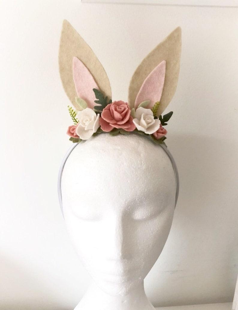 Bunny Ears Headband Rabbit Ears felt flowers Spring image 0