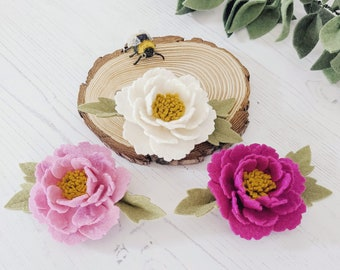 Felt Flower Hair Clip, Pink Peony hair barrette, Spring Floral hair pin, little girl gift, Whimsical Hair Piece, Bridesmaid Headband