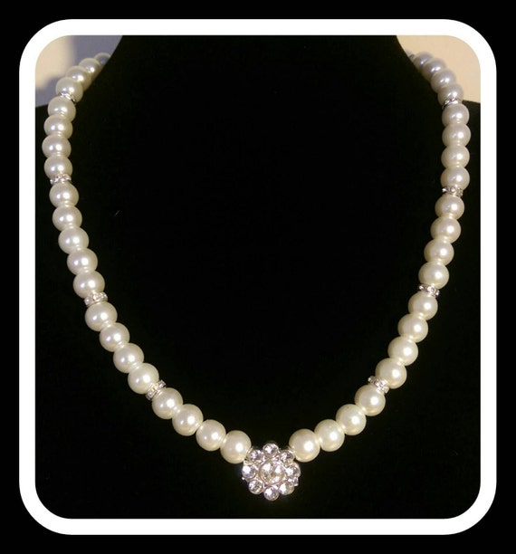 Ivory Pearl Effect Jewellery Set With Diamonte Flower Bead Etsy