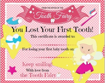 photograph regarding Free Printable Tooth Fairy Certificate identified as Enamel Fairy Certification for throwing away 1st little one teeth Etsy