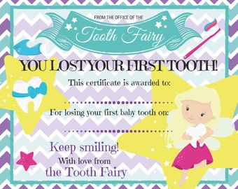 First lost tooth etsy tooth fairy certificate for losing first baby tooth maxwellsz