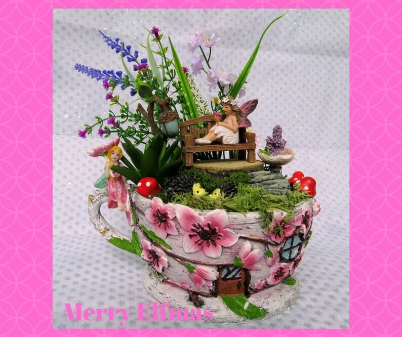 Cherry Blossom Tea Cup Planter for Miniature Garden Fairy Garden