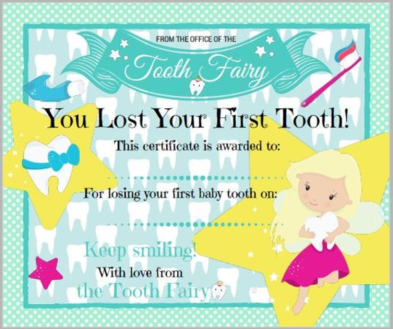It's just a graphic of Ambitious Tooth Fairy Certificate Printable Girl