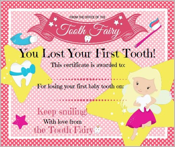It is a picture of Current Tooth Fairy Certificate Printable Girl