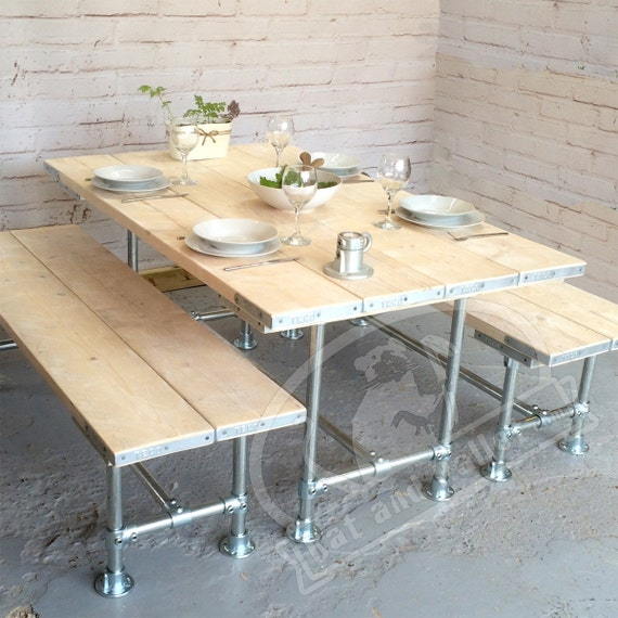 Kitchen Table With Benches Modern Made To Measure Scaffold Etsy