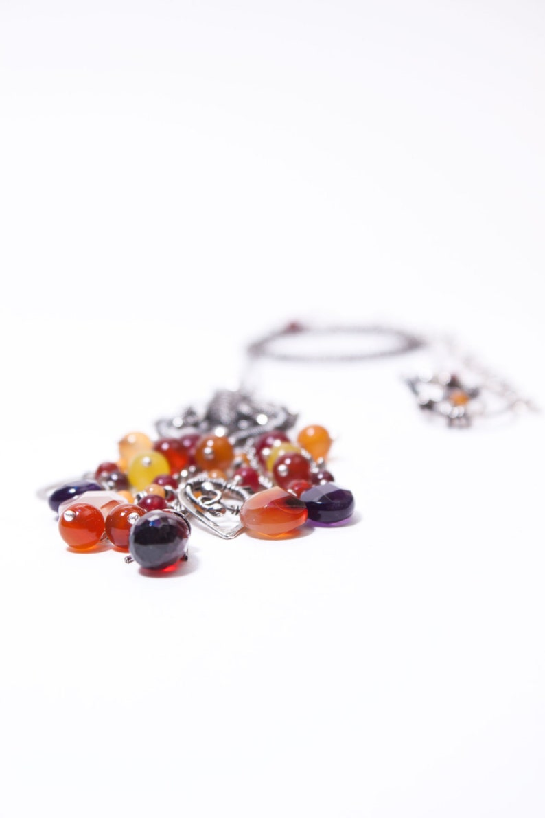 romantic wire weaved fine and sterling silver necklace with garnets long quartz and jades amethysts Lathander carneoles wire wrap