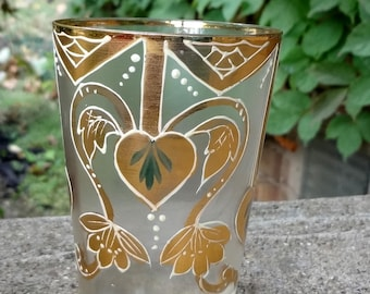 Hand Painted Frosted Glass // Bohemian // Gilt // Art Nouveau // Juice Glass
