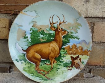 Hand Painted Deer Buck Plate // ESD Japan // Hanging Plate // Woodland Home Decor