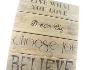 wood sign dream big, wooden sign choose happiness, home decor sign, inspirational wall art, inspirational wood signs rustic home decor