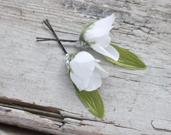 Bridal Hair Pins, Wedding Hairpins, white flower Hair Pins, flower Bobby Pins, Hair Pins - Set of 2 , fairy dress up, flower hair pins