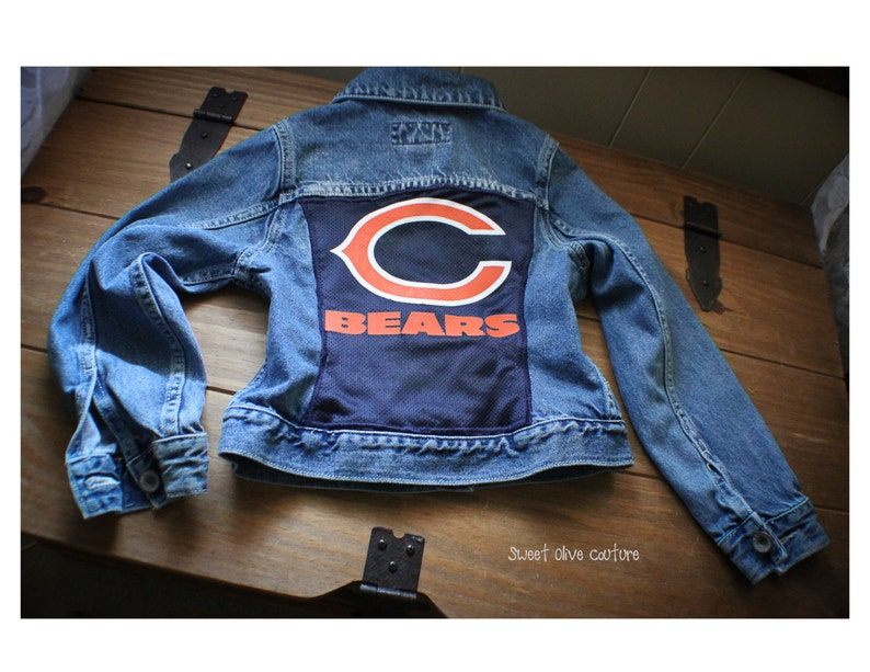 nfl, football, Chicago, BEARS, jacket, kids clothing, upcycled, eco  friendly, football jersey, ooak,sweet olive couture, bears football