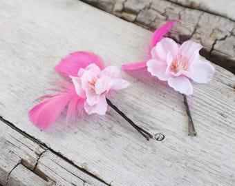 Bridal Hair Pins, feather hair pins, Wedding Hairpins, flower Bobby Pins, Hair Pins - Set of 2 , fairy dress up, flower hair pins, floral