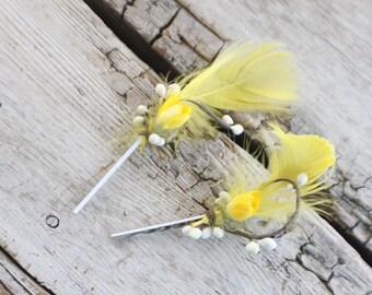 yellow Bridal Hair Pins, feather hair pins, Wedding Hairpins, flower Bobby Pins, Hair Pins - Set of 2 , dress up, flower hair pins, floral