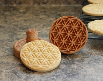 Seed of Life 2.5 inch Wood Cookie Stamp Mold CS-007