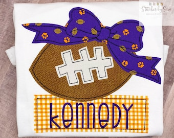 Customizable Vintage Football with Bow Appliqué Shirt for Girls, monogrammed