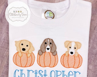 Puppy Pumpkin Trio Sketch Embroidery Shirt for Boys, monogrammed, fall, harvest