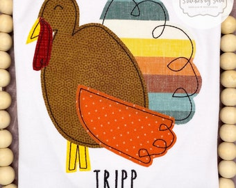 Thanksgiving Turkey Applique Shirt for Boys, monogrammed, fall, harvest