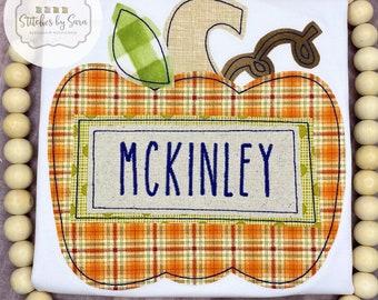 Fall Pumpkin Applique Shirt for Boys, monogrammed, harvest, Thanksgiving, Halloween