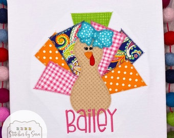Funky Turkey Applique Shirt for Girls, monogrammed, Thanksgiving, fall, harvest