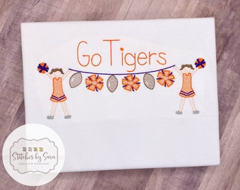 Custom Cheerleader Bunting Sketch Embroidery Shirt for Girls, personalized