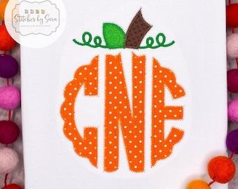 Pumpkin Monogram Applique Shirt for Girls, fall, harvest