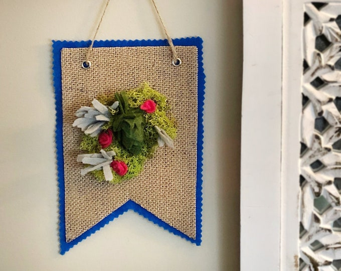Featured listing image: Felt Hop, Flowers, Succulents and Reindeer Moss on a Burlap Banner / 4x6
