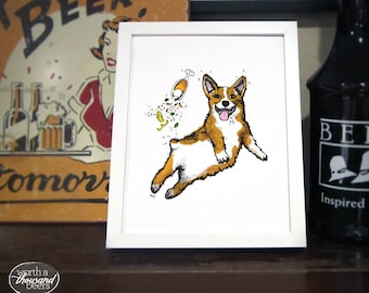 Corgi Beer Art Print, Corgi Wall Art, Beer Bar Art, Brewery Art / 8x10 Print