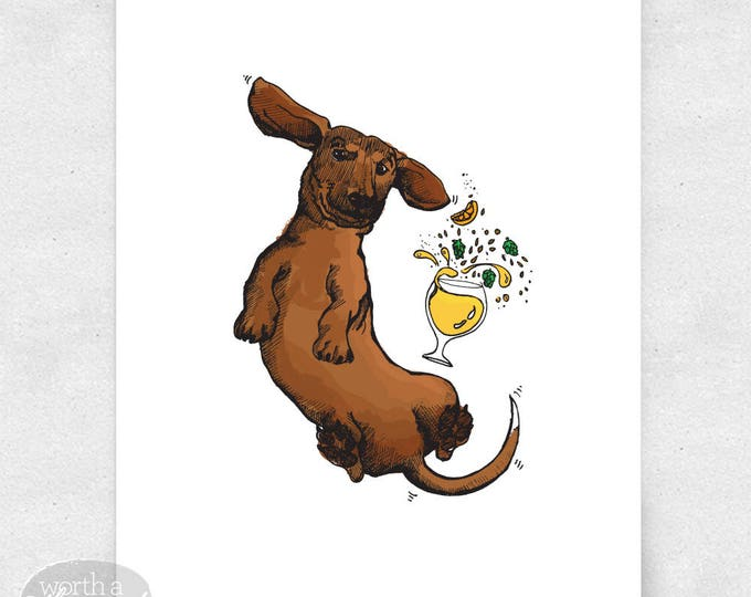 Featured listing image: Dachshund Art Print, Wiener Dog Wall Art, Beer Bar Art, Brewery Art / 8x10 Print
