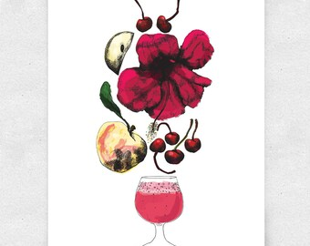 Hard Cider Wall Art Illustration, Bar Art, Brewery Art / 12x16 Print